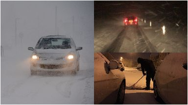 Snow: Huge delays on roads across Scotland.