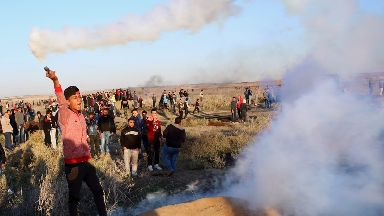 Palestinian protesters have clashed with Israeli forces.