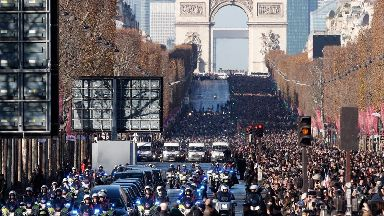 Tens of thousands of people turned out for Johnny Hallyday's funeral.