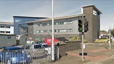 Ayrshire College: Road closed by police. Kilwinning