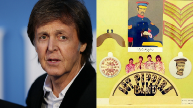 Sir Paul McCartney and art for Sgt. Pepper's Lonely Hearts Club Band.