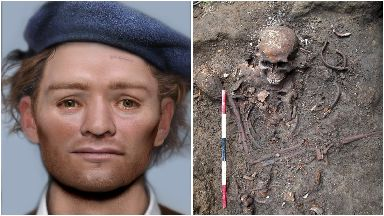 Digitally reconstructed face of a 17th century Scottish prisoner of war with skeleton