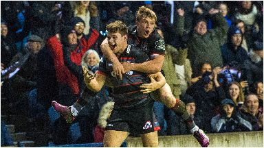 Edinburgh's Chris Dean (left) celebrates his winning try with Nathan Fowles, Dec 2017