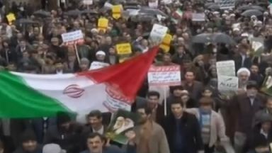 Iranian state TV showed pro-government rallies.