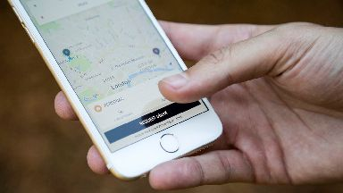 The new Uber app on an iPhone