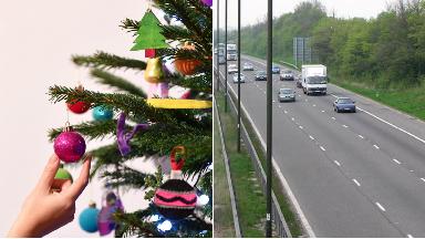 Christmas tree dumped on M8 motorway