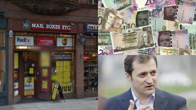 Collage of Glasgow Mail Boxes, cash generic and ex-Moldovan prime minister Vlad Filat.