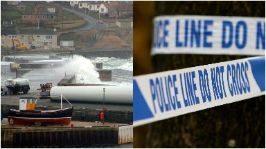 Wick harbour: Cordon put in place.