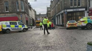 Church Street: Road closed by police. St Andrews
