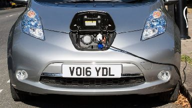 A Nissan electric car charging in London.