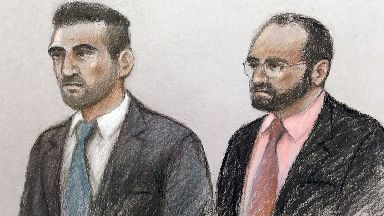 Court artist sketch by Elizabeth Cook of Vincent Tappu (left) and Mujahid Arshid
