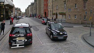 Royal Mile Edinburgh outside the Radisson Blu hotel.
