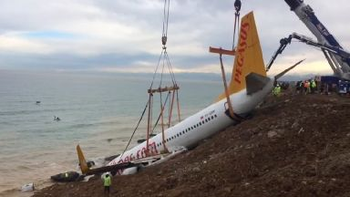 The plane stopped just metres from the Black Sea.