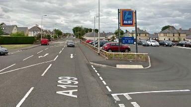 Haddington Road, Tranent, near Aldi where 11yo girl was knocked down.