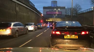 Clyde Tunnel rush hour delays January 26.