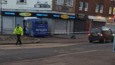 Crash: Bus smashed into window. Townhead Kirkintilloch