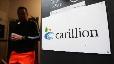 A Carillion sign at a construction site in central London
