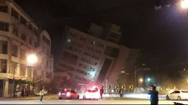 The partially-collapsed Marshal Hotel in Hualien.