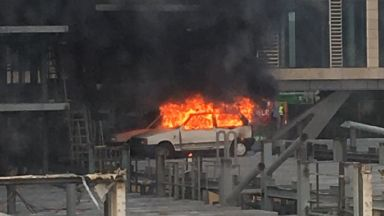 Edinburgh: Abandoned vehicle up in flames. SkyPark Robot Car Park
