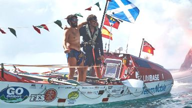 Kris and Blair Elliot, Team Noble, finish Talisker Whisky Atlantic Challange.