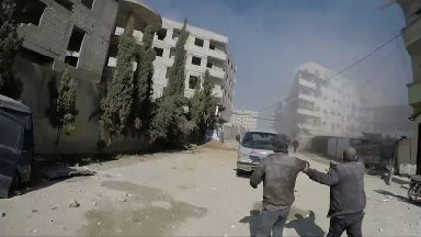 Shelling in the rebel enclave of eastern Ghouta near Damascus.