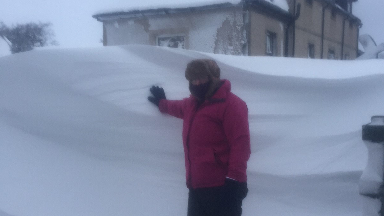 Couple stranded in Carluke, South Lanarkshire, due to snowdrift. 2/3/18.