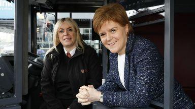 Hero bus driver Charmaine Laurie and Nicola Sturgeon.