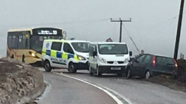 A814: Scottish Power informed of crash.