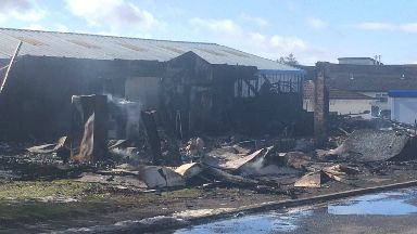 Fire at Iain M Smith Auctioneers, March 9 2018.