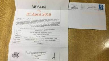 Islamophobic 'Punish a Muslim Day' letters condemned as counter-terror police investigate