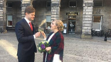 Corinna Lehrke and Fabian Wegener marriage at Edinburgh City Chambers.