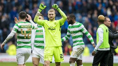 Scott Bain made his Celtic debut against Rangers at Ibrox.