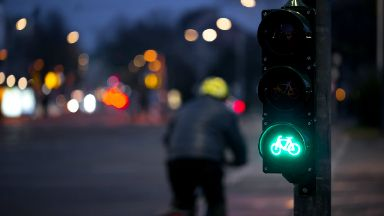 Early release traffic signals for cyclists in Edinburgh.