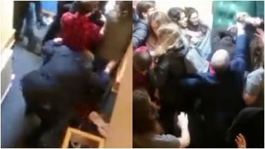 Scuffle: Fracas broke out at Aberdeen University.