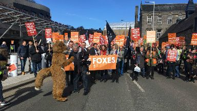 Anti fox hunting demonstration outside Holyrood. March 24 2017