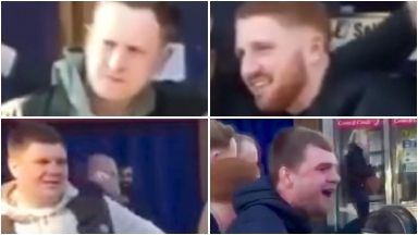 Four men sought over verbal abuse of rugby coach Eddie Jones at Oxford Road train station.