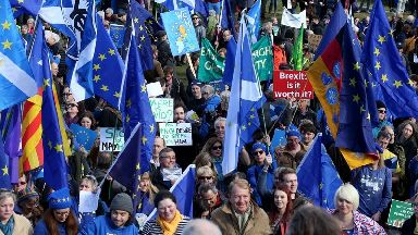 Demonstrators at a Brexit protest march in Edinburgh, which demanded a final vote on the Brexit deal.