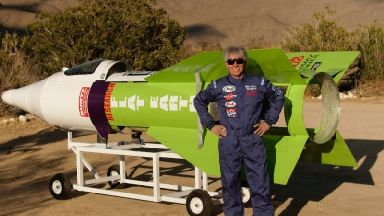 Rocket man blasts off into California sky reaching speeds of 350mph