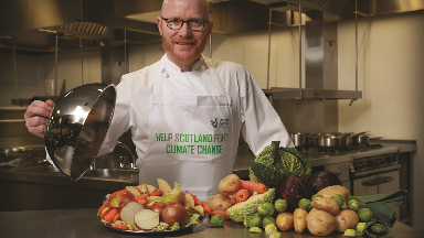 Scotland's National Chef, Gary Maclean, is urging Scots to help fight climate change by making small changes in their kitchens.