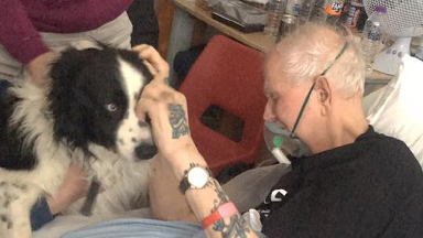 Peter Robson with his dog Shep, March 29 2018.