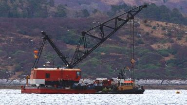 Loch Fyne: Lifting barge ready to lift boat.