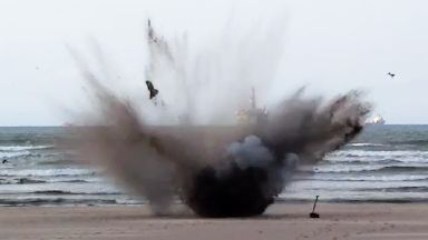 WWII shell blown up on Nairn Beach