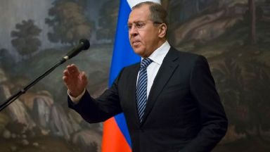 Russian Foreign Minister Sergey Lavrov prepares to speak to the media in Moscow