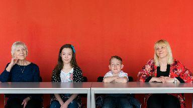 Mhairi Barrett, 43, her mother Mary Holgate, 78, and Mhairi's children, Charlotte, 11, and Zak, nine