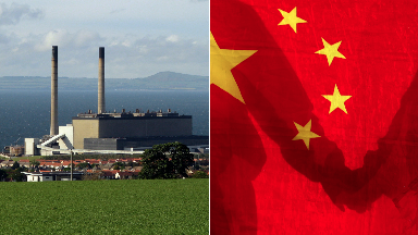 Cockenzie Power Station with Chinese flag