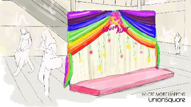 Chapel: With a rainbow-themed altar.
