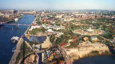 Panoramic image of the 1988 Glasgow Garden Festival site.