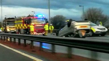 M8: Huge delays are being caused. Hillington Glasgow