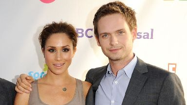 Meghan Markle with Patrick J. Adams, the actor who plays her on-screen husband in TV series Suits.
