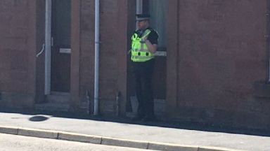 Arbroath: Police presence on street. St Vigeans Road Baby